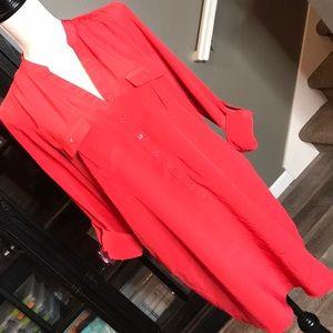 Haute Hippie red silk cargo shirt dress size small